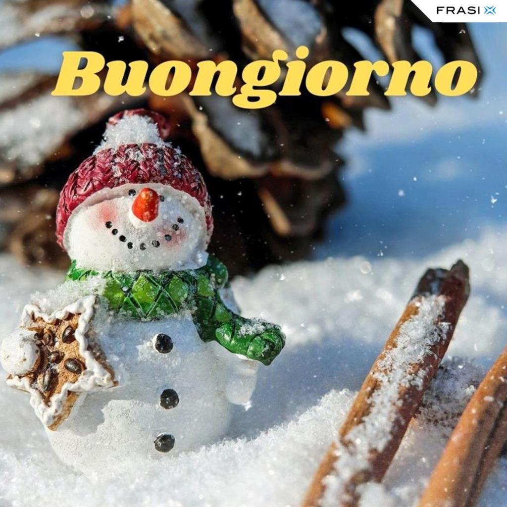 Buongiorno con pupazzo di neve