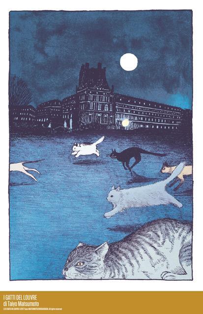 I gatti del Louvre nella notte corrono