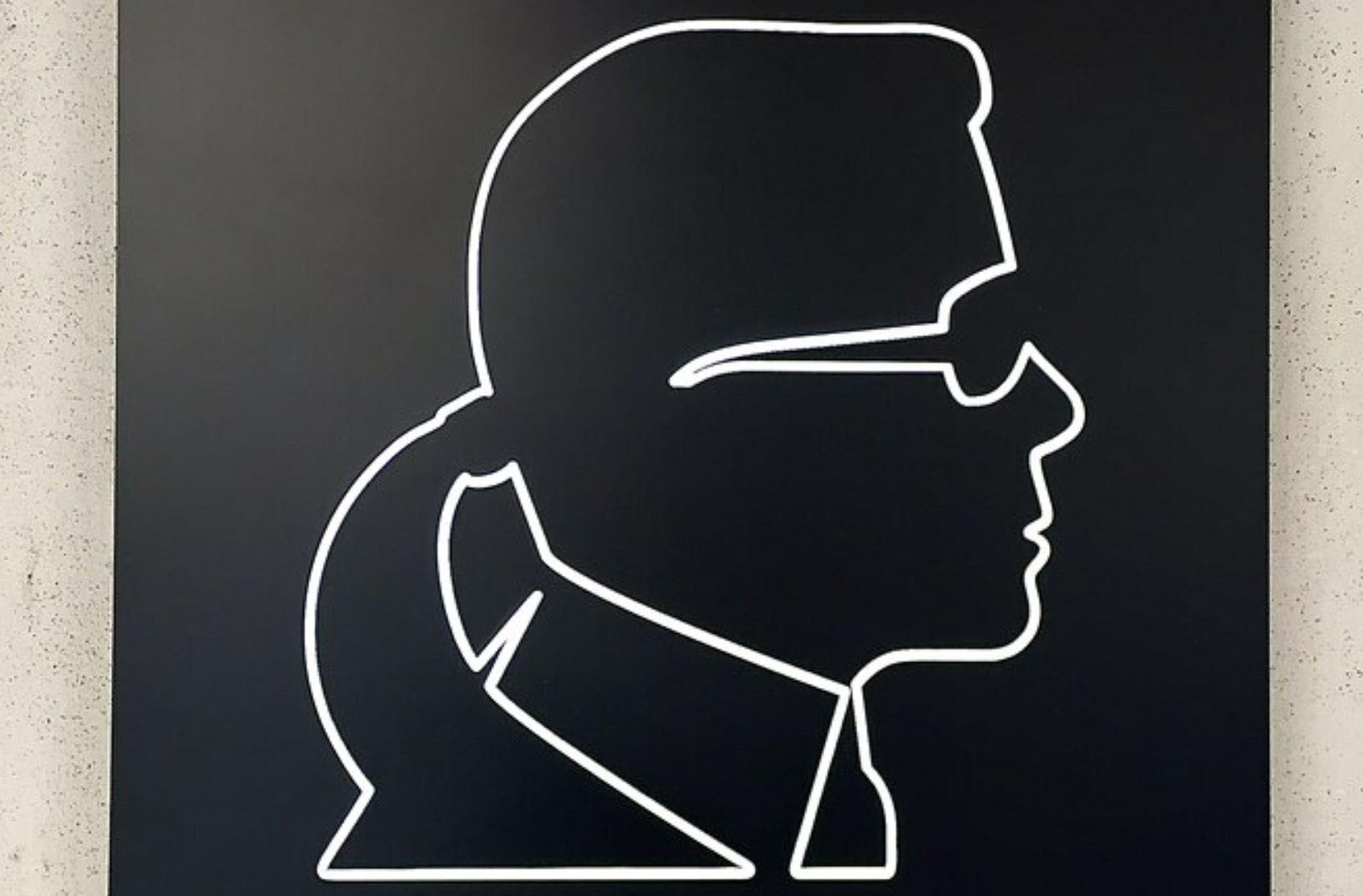 Ritratto di Karl Lagerfeld bianco e nero