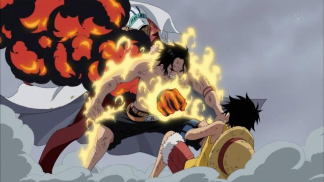 One Piece Ace salva Rufy morendo