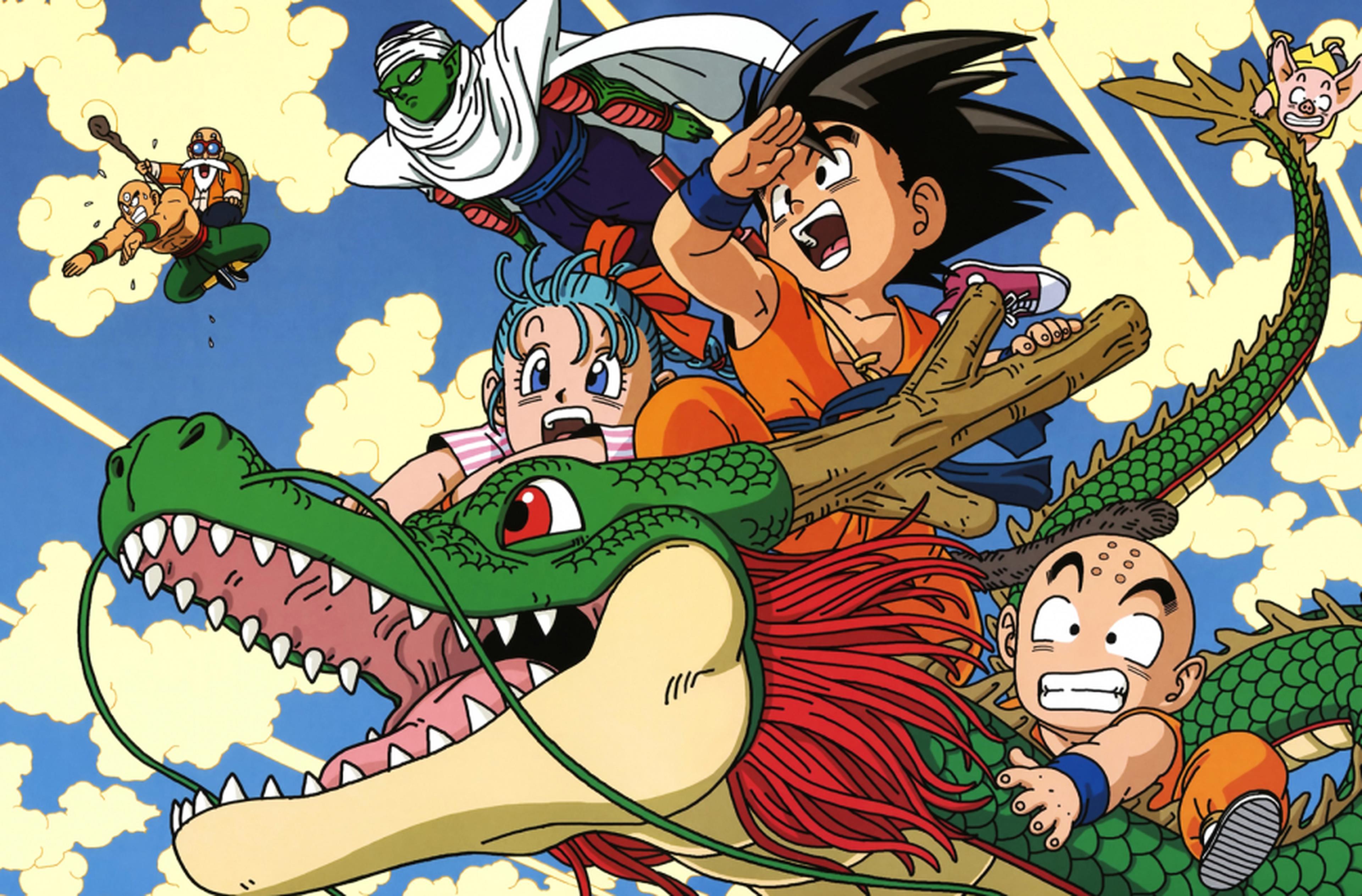 Goku cavalca Shenron in Dragon Ball