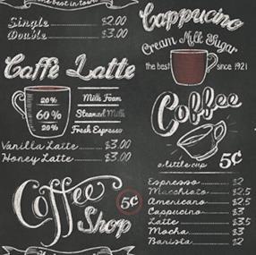 Carta da parati, lavagna per caffetteria (1 pezzo)