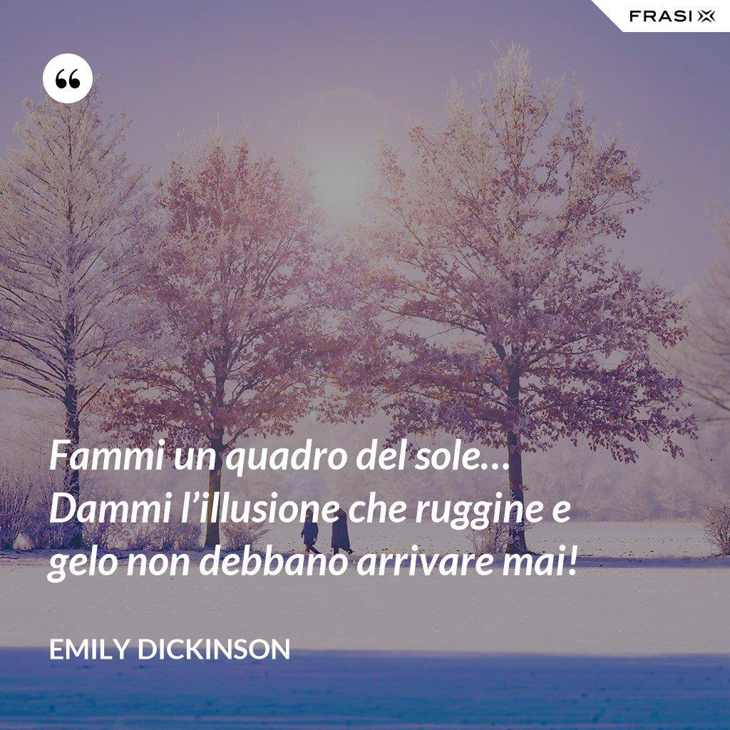 Buongiorno con paesaggio invernale e citazione di Emily Dickinson