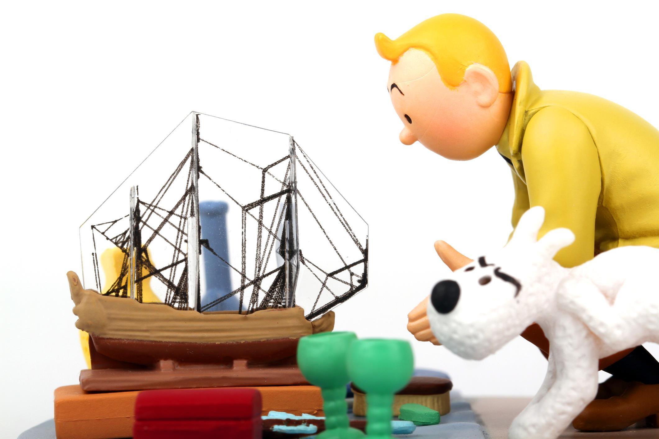 Pupazzi che riproducono Tintin e il suo cane