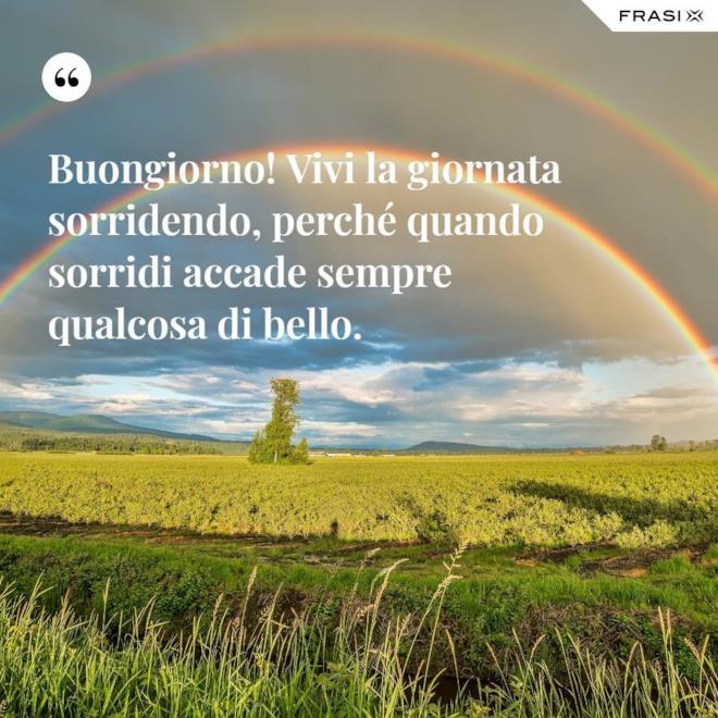Immagine con frase del buongiorno e arcobaleno