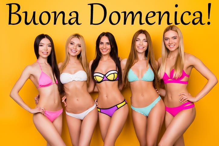 Delle bellissime ragazze in bikini augurano buona domenica - Immagini sexy per il buongiorno, buon compleanno, buonanotte e buona domenica
