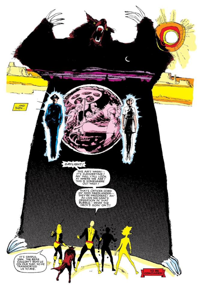 Una tavola tratta dalla Saga del Demone Orso dei Nuovi Mutanti