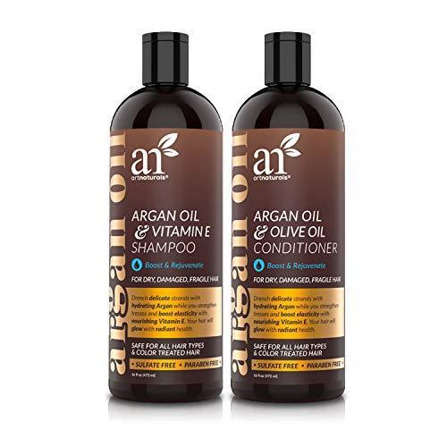 Art Naturals - Set shampoo e balsamo anticaduta, in olio di argan del Marocco, 2 flaconi da 473 ml