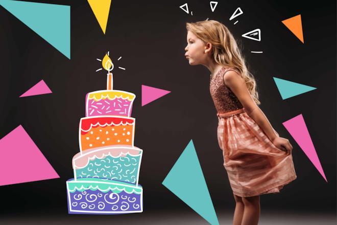 Bambina spegne la candelina di una torta disegnata