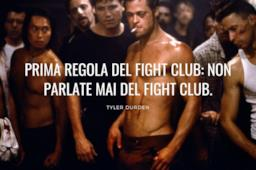 Immagine con frase celebre prima regola del fight club