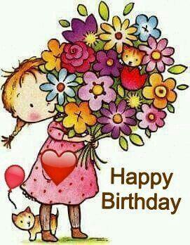 un disegno di una bambina con mazzo di fiori - Immagini di buon compleanno, le più simpatiche da scaricare gratis