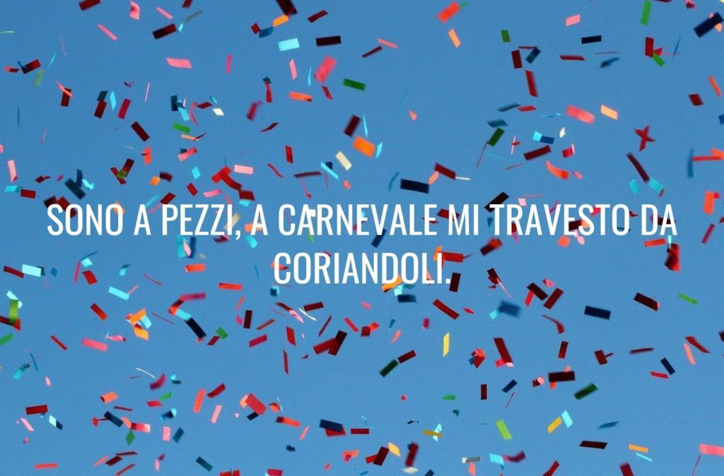 Frase divertente sul Carnevale sui coriandoli