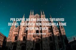 Frase celebre sulla città di Milano con immagine Duomo