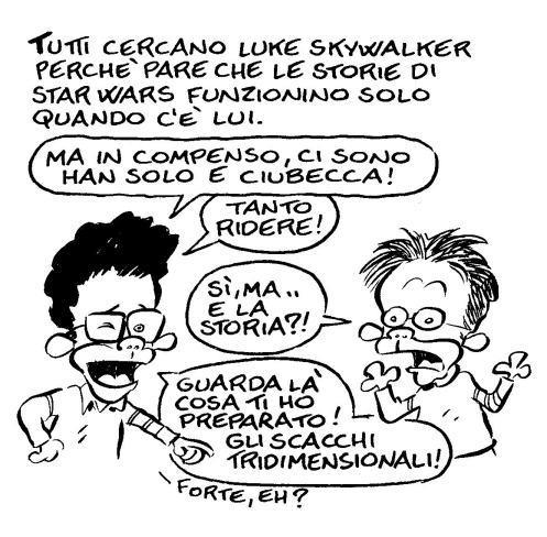 Leo Ortolani e J.J. Abrams in una vignetta della recensione di Star Wars 7