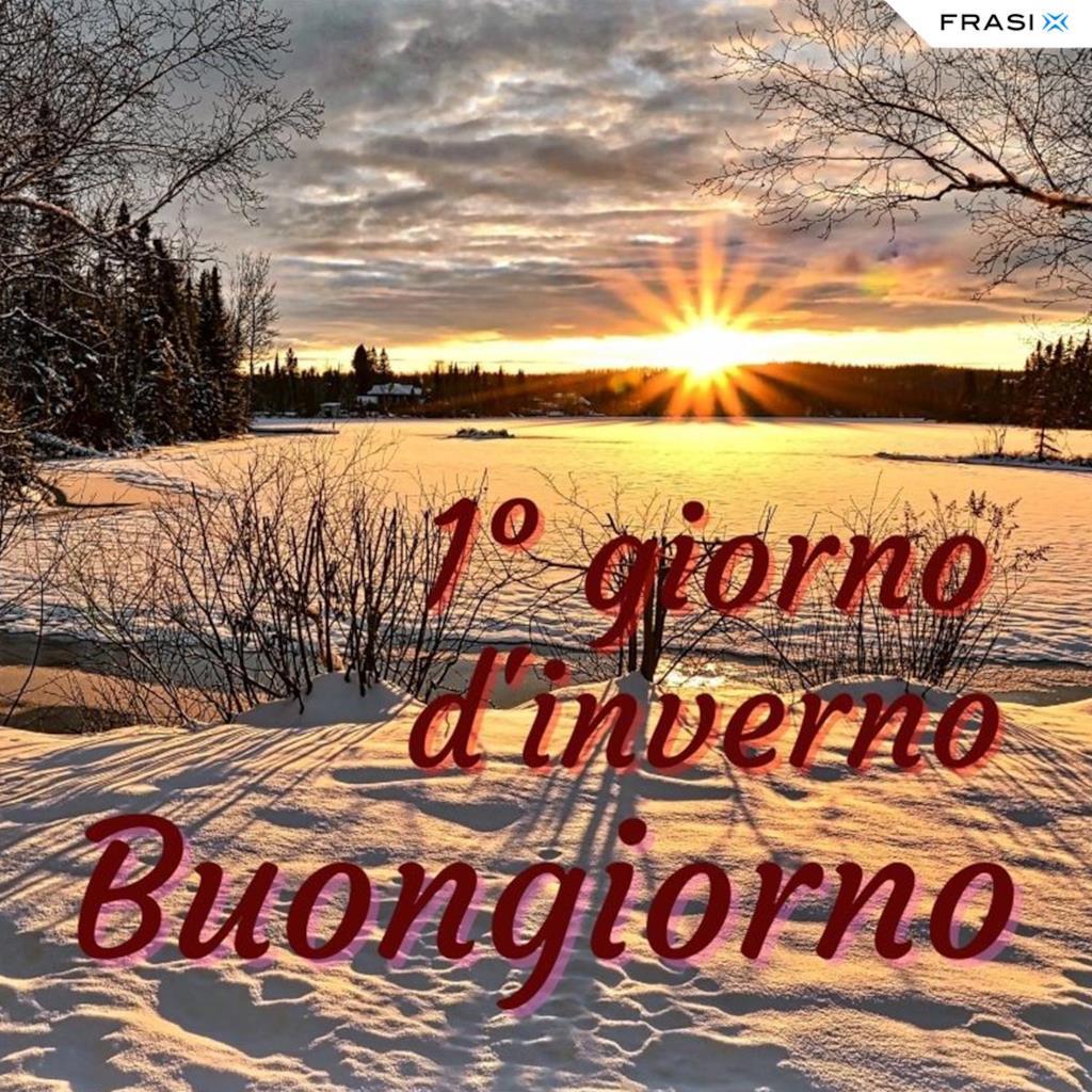 Buongiorno con paesaggio invernale
