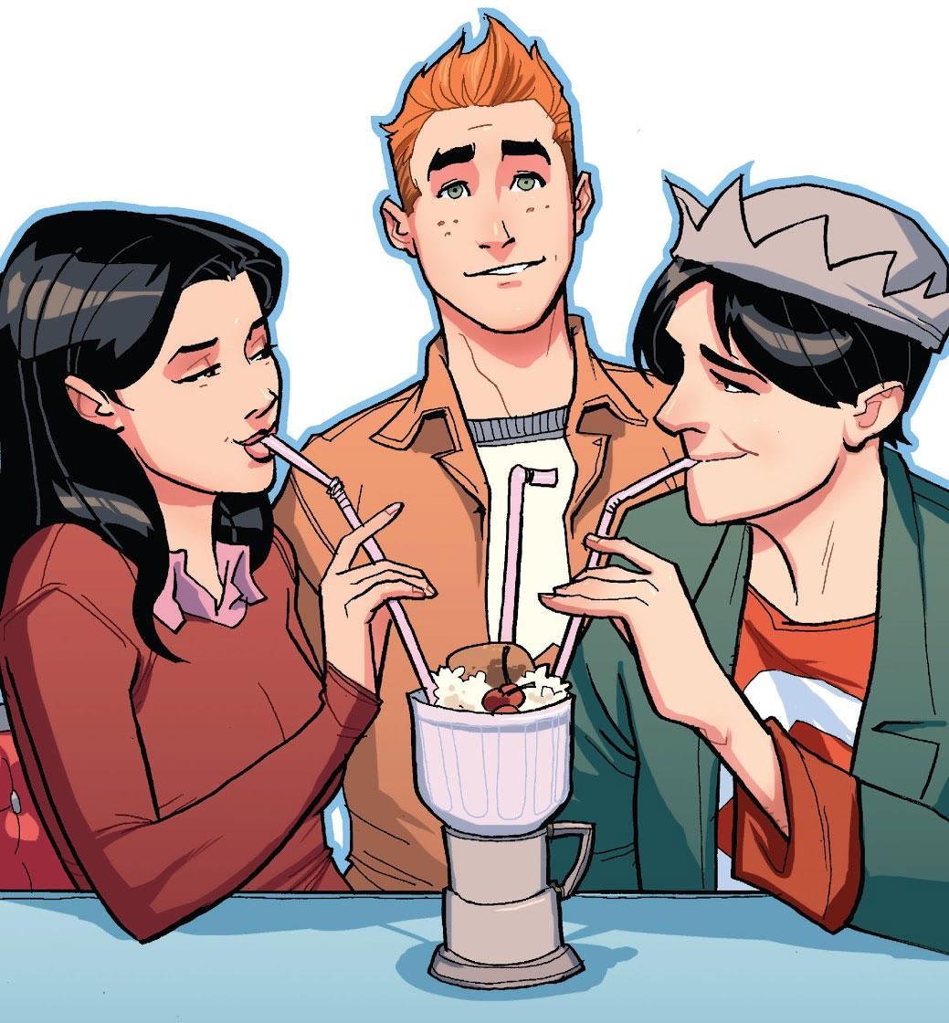 Veronica e Jughead sorseggiano un frappè con Archie