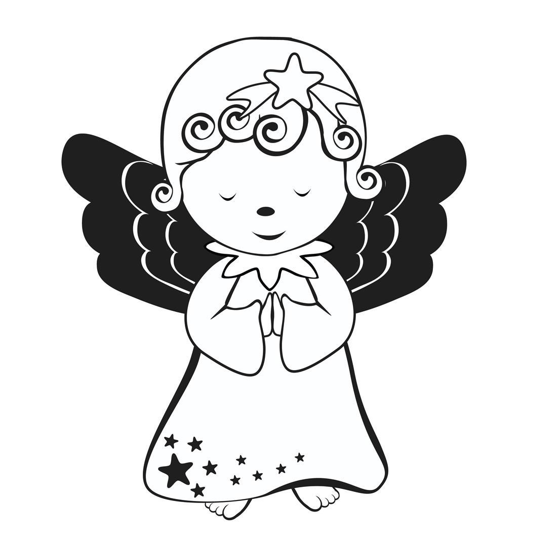angeli di natale da colorare per bambini