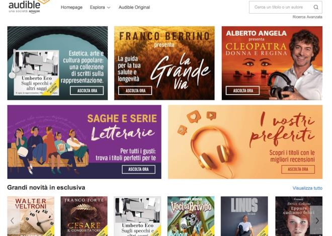 Audible: la homepage dell'edizione italiana
