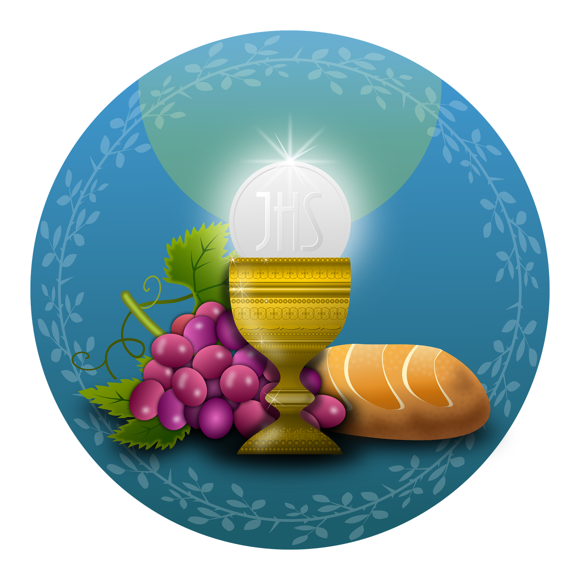 Calice con uva e pane