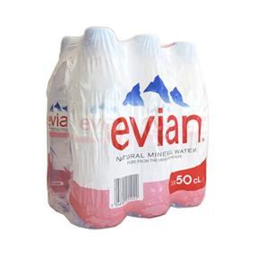 Evian - Natural Mineral Water - 6 x 500ml