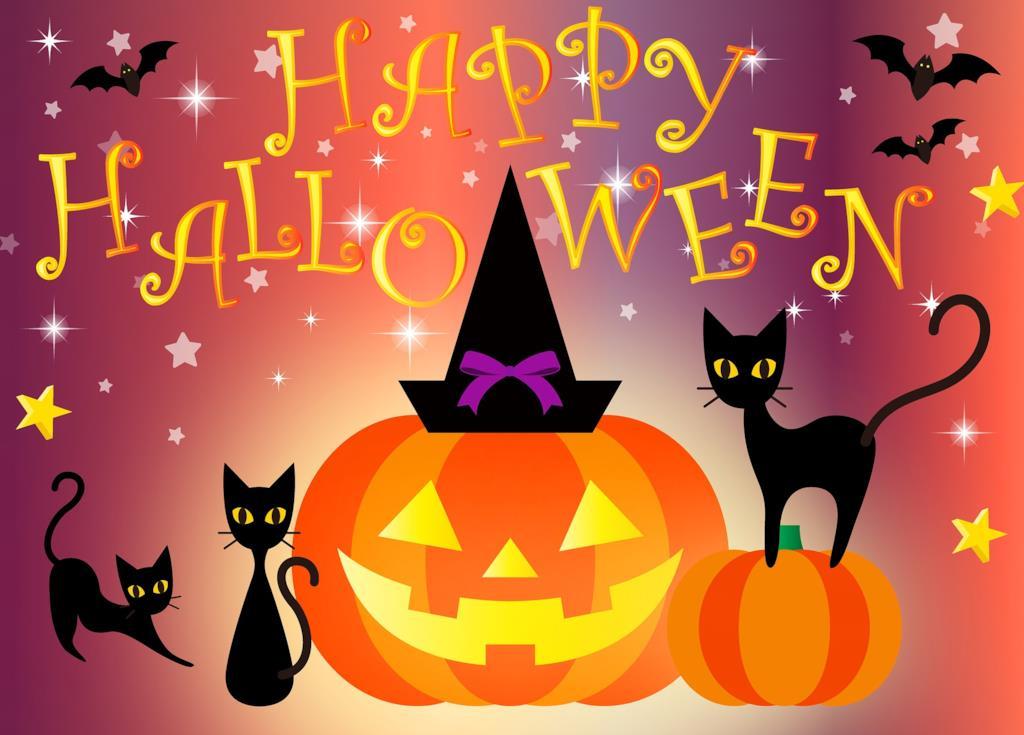 Happy Halloween immagine con zucca e gatti neri