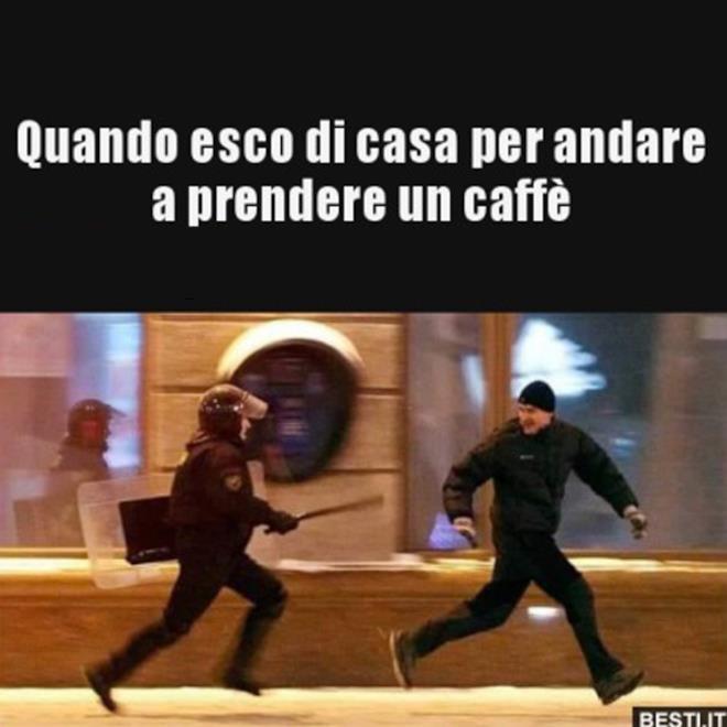 Immagini divertenti quarantena uscire a prendere il caffè