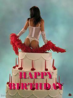 Una ragazza in lingerie che esce da una torta - Immagini sexy per il buongiorno, buon compleanno, buonanotte e buona domenica