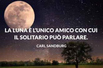 Paesaggio al chiaro di luna con frase bella