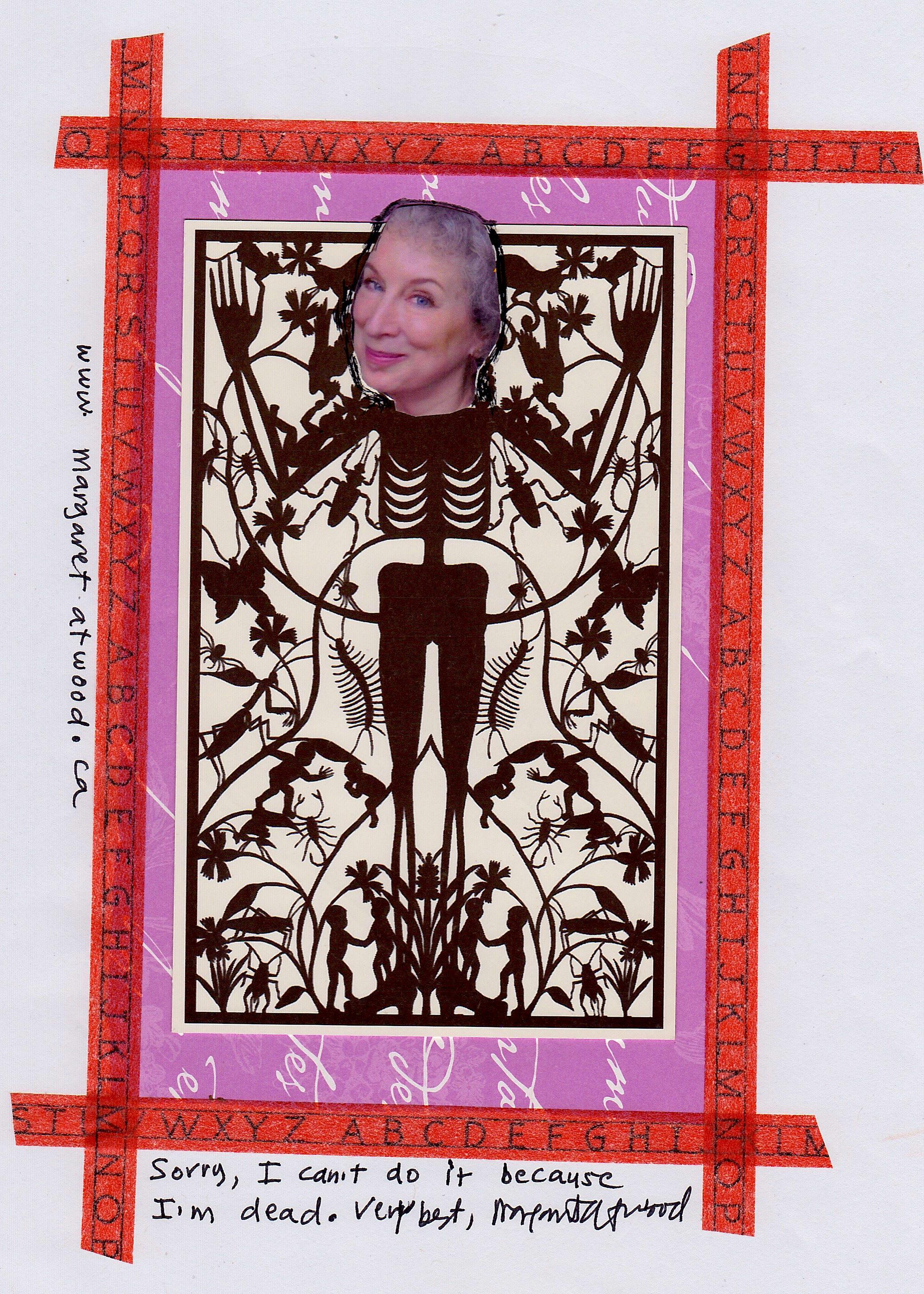 Un autoritratto collage di Margaret Atwood